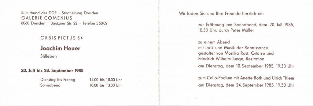 Einladungskarte orbis pictus 54, 1985, Innenseite